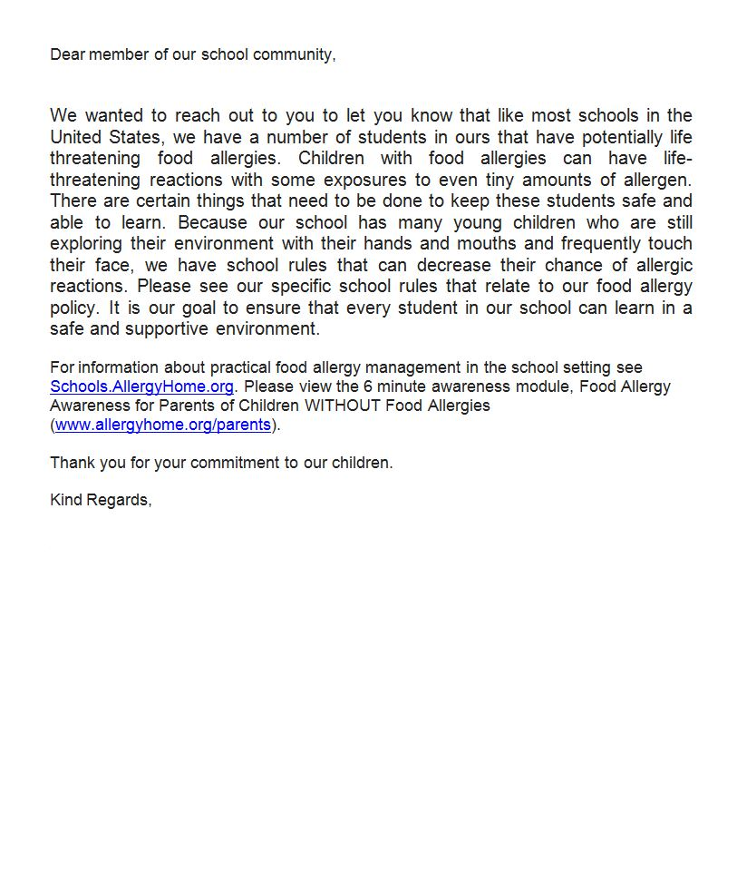 School Food Allergy Notification Letter